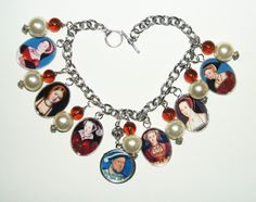 HENRY THE VIII AND HIS 6 WIVES altered art charm bracelets - art jewelry for you