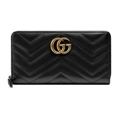 GG Marmont Zip Around Wallet ($690) ❤ liked on Polyvore featuring bags, wallets, gucci, chevron bag, gucci wallet, leather wallets and gucci bags