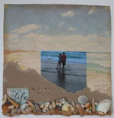Tina West's scrapbook layout #beachlayout, # shellsonyourlayout, #beach #recyclablesonlayouts,