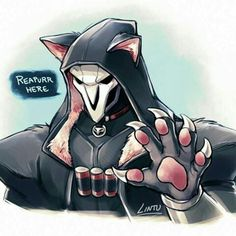 Aww he's adorable lol Overwatch Comic, Overwatch Cats, Overwatch Drawings, Overwatch Reaper, Overwatch Memes, Overwatch Fan Art, Reaper Drawing, Widowmaker, Fanart