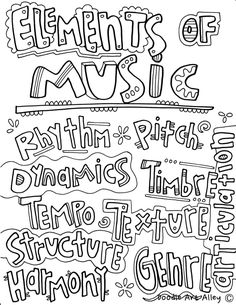 Musical Elements Coloring Pages from Classroom Doodles. Musical Elements Coloring Pages from Classroom Doodles. Music Doodle, Elementary Music Lessons, Middle School Music, Music Worksheets, Music Page, Coloring Pages For Kids, Kids Coloring, Free Coloring, Adult Coloring