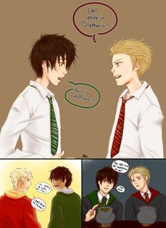 Albus Potter Slytherin and Scorpius Malfoy Griffindore