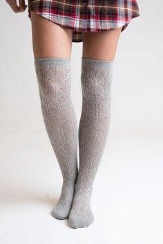 Grey Knee High Boot Socks