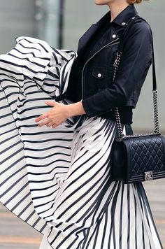 Moto Jacket and Striped Skirt