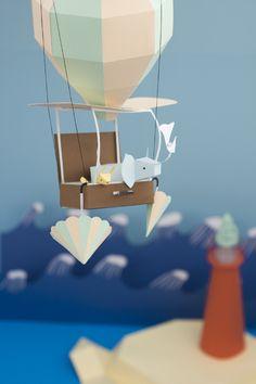 Creative Origami fold by Fideli Sundqvist House Illustration, Paper Illustration, Illustrations, Lart Du Papier, Paper Cutting, Cut Paper, Paper Design, Design Art, Paper Balloon