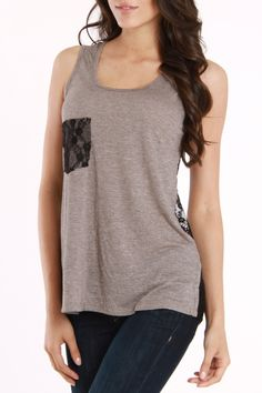 lace pocket and lace back tank