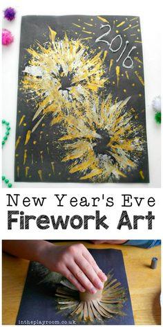 New Year's Eve Fireworks Craft - Kochen Silvester Feuerwerk Ha Kids Crafts, New Year's Eve Crafts, Daycare Crafts, Toddler Crafts, Holiday Crafts, Arts And Crafts, Party Crafts, Creative Crafts, Fireworks Craft