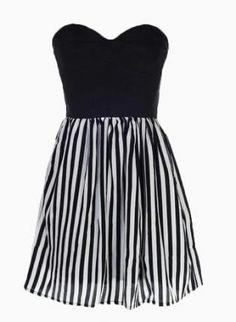 Black Strapless Dress - Striped Sweetheart Dress | UsTrendy