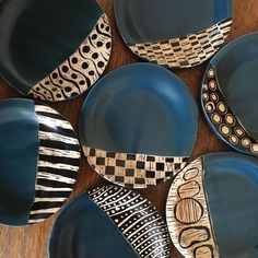 A playground of pattern is etched on to small plates, handmade in Patricia Griffin's California studio. Check it out at PatriciaGriffinCeramics.com