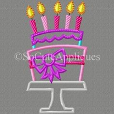 Cake with Bow and Candles Applique Set - 5x7 | What's New | Machine Embroidery Designs | SWAKembroidery.com So Cute Appliques