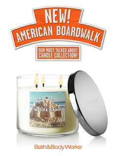 NEW White Sand 3-Wick Candle – sparkling grapefruit and sandalwood, with coconut milk and summer jasmine <3   #AmericanBoardwalk