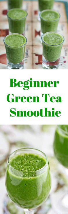 Beginner Green Tea Green Smoothie - serve this in shot glasses to beginners - full of antioxidants and the perfect way to start your day ~ http://jeanetteshealthyliving.com
