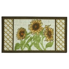 Bacova Multi Sunflower Frame Kitchen Accent Rug ($18) ❤ liked on Polyvore featuring home, rugs, multi, trellis rug, bacova rugs, border rug, trellis area rug and border area rugs