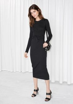 & Other Stories image 2 of Twist Wrap Dress  in Black