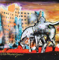 """""""Peerd verkeerd"""" these two unique landmarks of Groningen are combined in one perfect piece! Size is 70 x 70 cm / 27"""" x 27"""". #groningen #picoftheday www.erikzwezerijnen.com Unique, Painting, Art, Kunst, Art Background, Painting Art, Paintings, Performing Arts, Painted Canvas"""