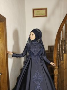 The perfect addition to any Muslimah outfit, shop Al-Marah's stylish Muslim fashion Navy Blue - Multi - Fully Lined - Crew neck - Muslim Evening Dress. Find more at Modanisa! Muslim Evening Dresses, Navy Blue Dresses, Muslim Fashion, Crew Neck, Long Sleeve, Long Dress Patterns, Moslem Fashion, Boat Neck