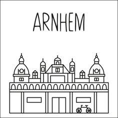 Haal een beetje van Arnhem in huis met deze leuke 'straat' #raamtekening met een paar van de bekende gebouwen: Musis Sacrum, Burgers Zoo, Sabelspoort & Trolleybus, St. Eusebiuskerk, John Frostbrug & KEMA toren, GelreDome en Villa Sonsbeek.