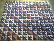 Beautiful Antique Block Patchwork Quilt Handmade Hand stitched 80 x 70 1940's