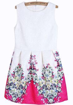 White Sleeveless Rose Red Floral Slim Dress - Sheinside.com