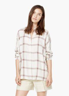 Chemise à carreaux -  Femme | MANGO