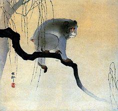 Monkey on Branch BIG Japanese Art Print by Koson Art