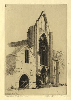 Somerset & Wood Fine Art | Churches in Art | Edgar James Maybery, Tintern Abbey - Original early 20th-century etching print £33 #FreeShipping #OriginalArt #ArtForSale #OwnArt