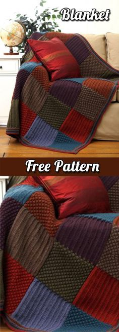 Blanket: Patchwork style crochet with squares (Free Pattern PDF) | Blanket | Free Pattern | Blanket Tips | Crafts | DIY | Free Tutorial | Step by Step | Tips | Knit | Knitting