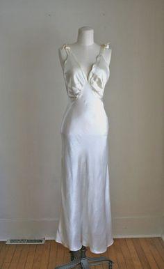 vintage 1930s lingerie  LIQUID ivory silk satin night by MsTips, $58.00