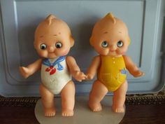 Vintage-Kewpie-Doll-Collection-Vinyl-Rubber-Jointed-Poseable-Printed-Knit-Dress