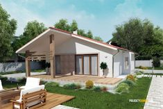 nízkorozpočtový projekt domu bungalov na úzke pozemky Exterior, Planer, House Plans, Outdoor Structures, Outdoor Decor, Home Decor, Bungalows, Log Projects, Cakes