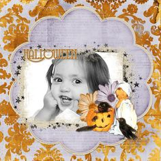 This is such a cute layout.  Love the vintage embellishment with the little ghost and pumpkin.