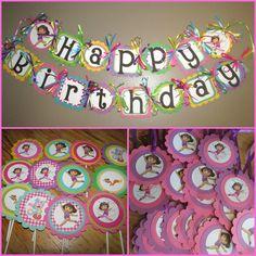 Dora Birthday Party Set - Banner, Cupcake toppers, favor tags Dora the explorer Birthday party. $50.00, via Etsy.