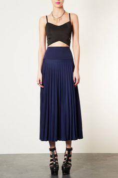 High waist pleated maxi skirt  TOPSHOP