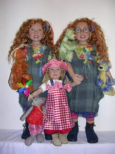 Zwergnase Dolls The Filippa twins and Fam with their bears from 2005