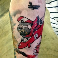 Pug flying a jet. Red Baron style. #pug #tattoos #edslocum