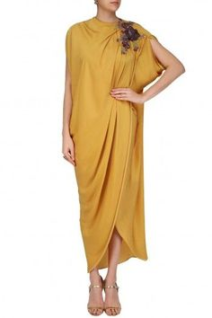 Mustard colored drape gown available only at Pernia& Pop Up Shop. Western Dresses, Indian Dresses, Indian Outfits, Drape Gowns, Draped Dress, Casual Dresses, Fashion Dresses, Kaftan Style, Indian Designer Wear