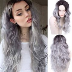 Ombre Grey Wig Long Curly Synthetic Wig For Black Women Cheap Natural Hair Wigs 26 Inch Synthetic Wigs Heat Resistant Short Human Hair Wigs, Kinky Curly Wigs, Curly Weaves, Cheap Lace Front Wigs, Synthetic Lace Front Wigs, Synthetic Wigs, Cheap Wigs, Dark Roots Hair, Dark Hair
