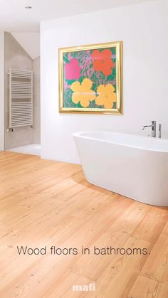Create your own bathroom oasis with mafi natural wood floors. Irresistible, elegant design and comfort made possible by a natural finishing with oil. Join us for more! Spanish Style Homes, Spanish House, Natural Wood Flooring, Stucco Walls, Red Roof, Mediterranean Home Decor, Oasis, Floors, Tiles