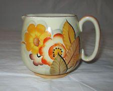 Fielding's Crown Devon Hand Decorated Art Deco Creamer, Orange Flowers, ca 1930s