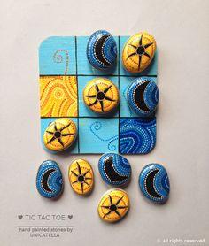 Unicatella: Kamykowe opowiastki by Unicatella Stone Crafts, Rock Crafts, Crafts To Sell, Arts And Crafts, Mandala Painted Rocks, Painted Stones, Stone Age Art, Tic Tac Toe Game, Camping Crafts