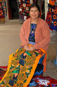 Paxku with Embroidered Handwoven Textile in Zinacantan, Chiapas, Mexico