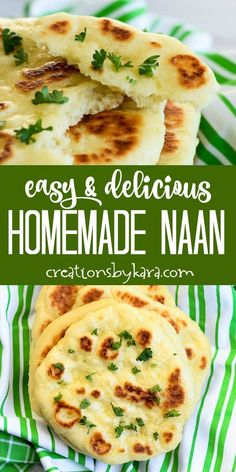 Best Homemade Naan Bread Recipe - this soft and chewy bread can be made at home with simple ingredients. It is so easy you will want to make it all the time! #naan #naanbread #homemadenaan #naanrecipe #creationsbykara #garlicnaan
