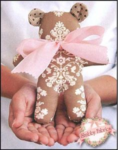 """Baby Bear Petite Pattern: This adorable baby bear measures 6"""" tall - making it a great stuffed toy for babies and small children. Pattern includes all instructions for this simple project."""