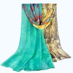 Color Block Feather Print Thin Scarf For Women .