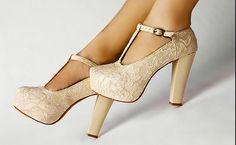 t-strap heels in nude
