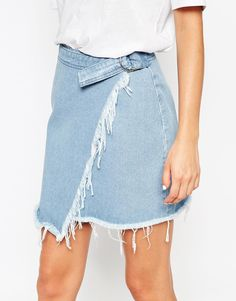 Denim Raw Edge Asymmetric Wrap Mini Skirt