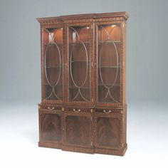Light Crotch Mahogany Lighted Breakfront China Cabinet, Glass Shelves,  Brass Mounts   Designed By Maitland Smith.