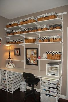 Book Shelves with Baskets | Wow, a few shelves, baskets, and bins...very ... | My Sewing Room Org ...