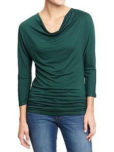 Womens Jersey Cowl-Neck Tops - Emerald Waters, Gray, or Blue - Sz L or XL - OldNavy