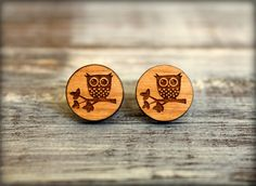 Owl Perched on a Branch Disc Studs Laser Cut by saffronandsaege